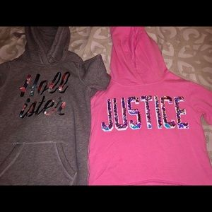 Pink Justice and gray Hollister girls hoodies